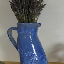 Váza modrá kvetinová